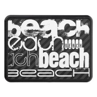 Beach; Black & Dark Gray Stripes Tow Hitch Cover
