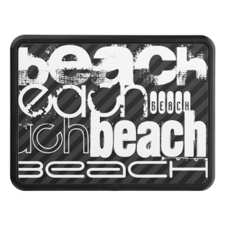 Beach; Black & Dark Gray Stripes Trailer Hitch Cover