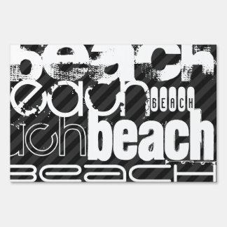 Beach; Black & Dark Gray Stripes Lawn Signs