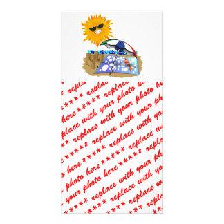 Beach Blanket And Sun Custom Photo Card