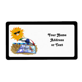 Beach Blanket And Sun Personalized Shipping Labels