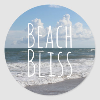 """Beach Bliss"" Blue Sky, Fat Clouds & Rolling Surf Classic Round Sticker"