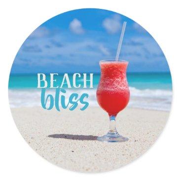 Beach Themed Beach Bliss Sandy Beach Tropical Cocktail Classic Round Sticker