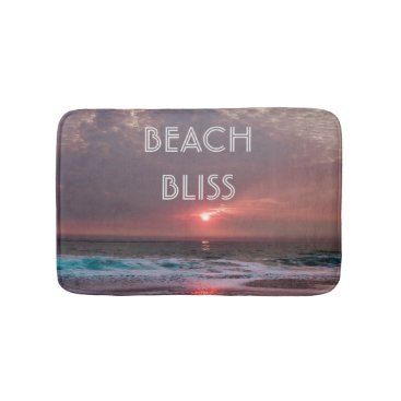 Beach Bliss Tropical Paradise Sunset Editable Bathroom Mat