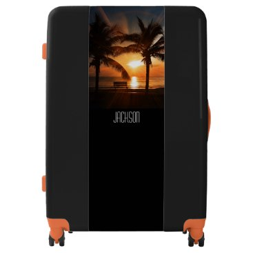 Beach Bliss Tropical Sunset and Palm Tree Editable Luggage