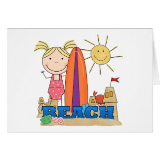 BEACH - Blond Girl Tshirts and Gifts Greeting Card