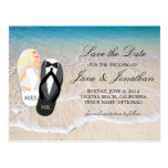 "Beach Blonde ""Mr. and Mrs."" Wedding Save the Date Post Card"
