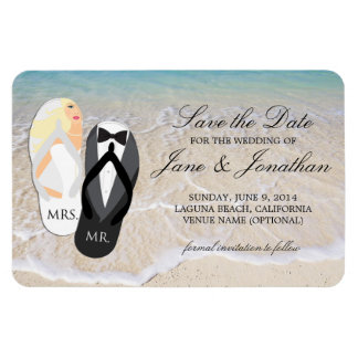 Beach Blonde Tropical Wedding Deluxe Save the Date Flexible Magnets