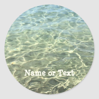 Beach Blue Beige Cool Sea Water Personalized Classic Round Sticker