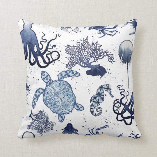 Beach Blue Coral Modern Watercolor Sea Turtle Art Throw Pillow Zazzle Com