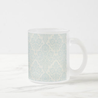 Beach Blue Delicate Floral Swirl 10 Oz Frosted Glass Coffee Mug