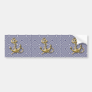 Beach Blue greek pattern preppy nautical Anchor Bumper Sticker