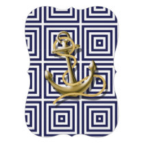 Beach Blue greek pattern preppy nautical Anchor Card