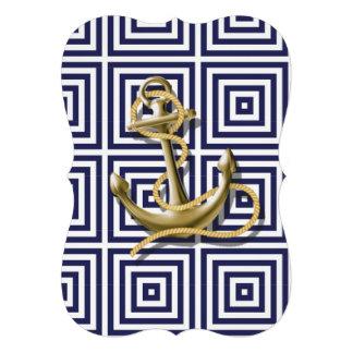Beach Blue greek pattern preppy nautical Anchor Card
