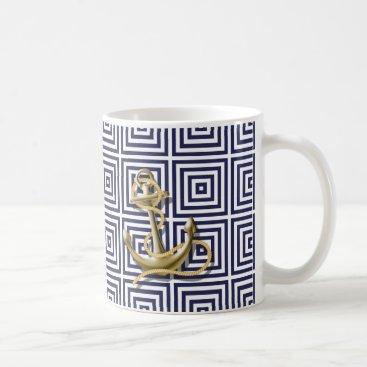 Beach Themed Beach Blue greek pattern preppy nautical Anchor Coffee Mug