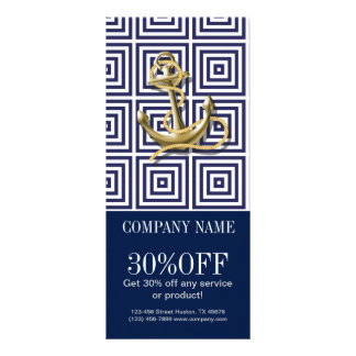 Beach Blue greek pattern preppy nautical Anchor Rack Card