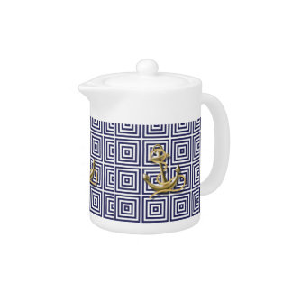 Beach Blue greek pattern preppy nautical Anchor Teapot