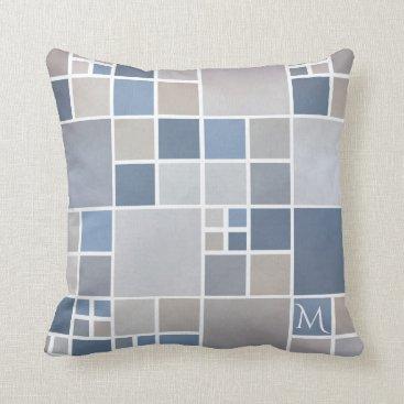 Beach Themed Beach Blue Monogram Geometric Pattern Pillow