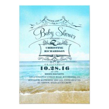 Beach Themed beach blue ombre baby shower card