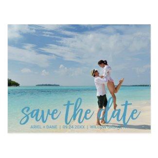 Beach Blue Save the Date Photo Postcard