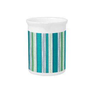 Beach Blue Stripes Beverage Pitcher