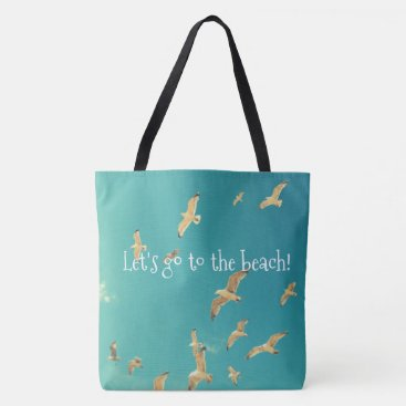 Beach Themed Beach blue tote bag with photo of seagull and sky