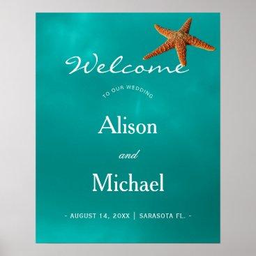 Beach Themed Beach blue turquoise starfish wedding welcome sign