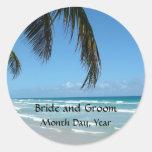 Beach - Blue Water and White Sand Round Sticker