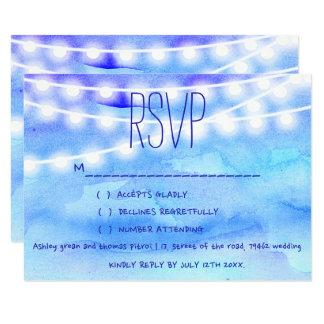 Beach blue watercolor string lights RSVP Wedding Card