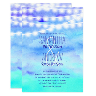 Beach blue watercolor string lights Wedding Card