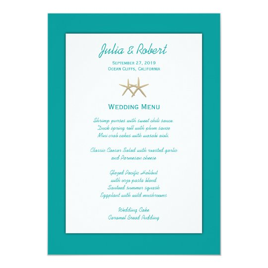 Beach Blue & White Starfish Wedding Menu Template