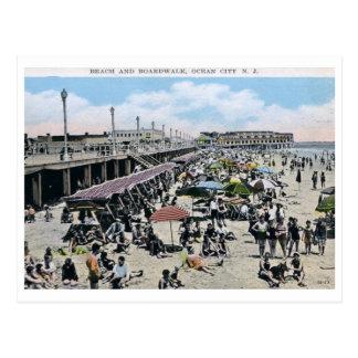 Beach & Boardwalk, Ocean City, NJ Vintage Postcard