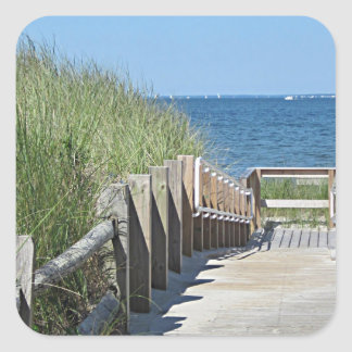Beach boardwalk photo square sticker