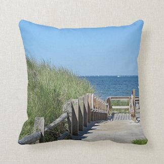 Beach boardwalk photo throw pillow