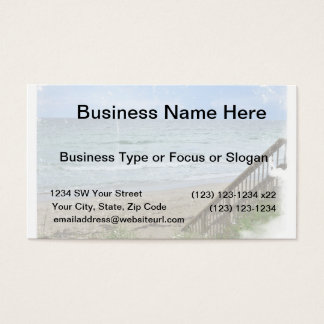 beach boardwalk steps grunge scratch business card