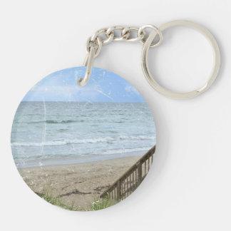 beach boardwalk steps grunge scratch keychain