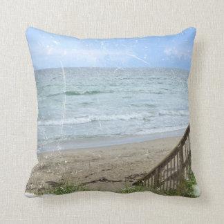 beach boardwalk steps grunge scratch throw pillow