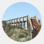 Beach Boardwalk with girl, Florida Cape san blas Classic Round Sticker