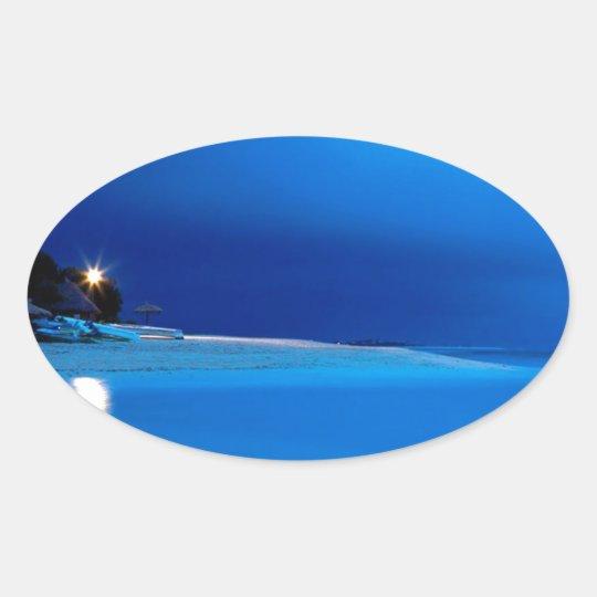 Beach Boathouse Dawn Fiji Oval Sticker