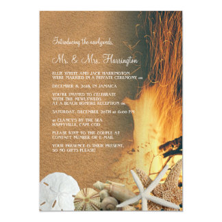 Beach Bonfire Reception Only Newlyweds Card