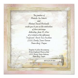 """Beach Bottle Wedding Invitation 5.25"""" Square Invitation Card"""