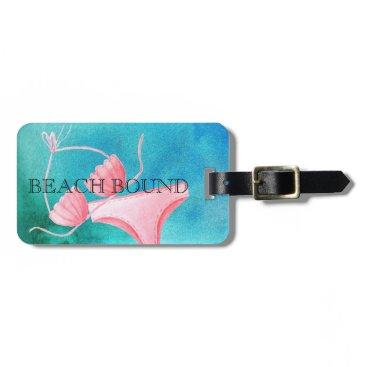 Beach Themed BEACH BOUND BIKINI AQUA PINK CUSTOMIZE-ABLE BAG TAG
