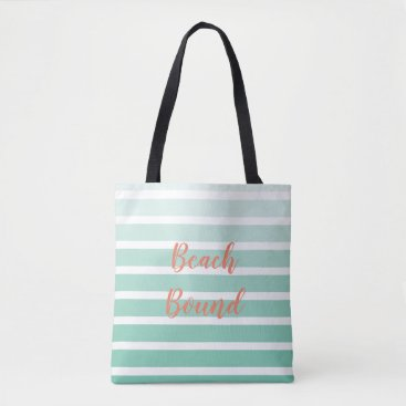 Beach Bound Sea Foam Green Stripe Shades Tote Bag