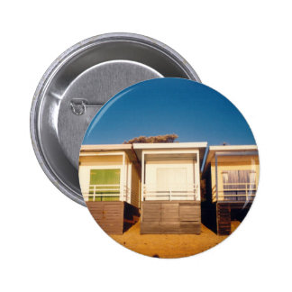Beach Boxes Row Photo Pinback Buttons