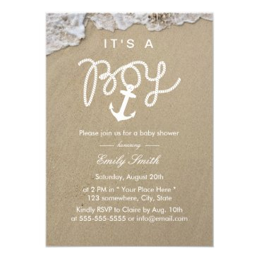 Beach Themed Beach Boy Baby Shower Invitations