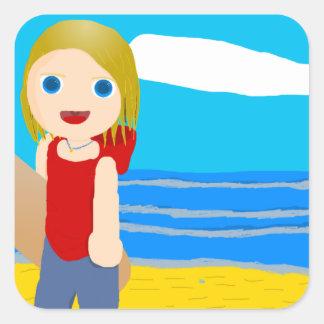 beach boy square sticker