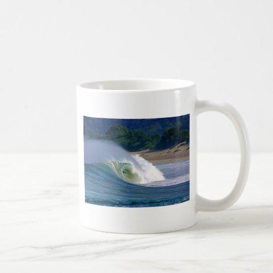 Beach break green surfing wave Java coast Coffee Mug