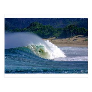 Beach break green surfing wave Java coast Postcard