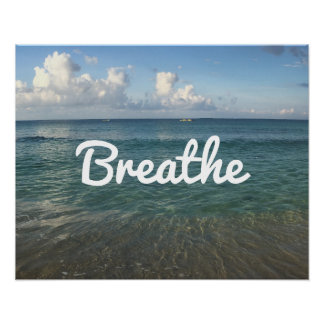 "Beach ""Breathe"" Spirit Yoga & Meditation Poster"