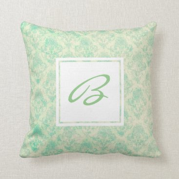 Beach Themed Beach Breeze Pattern with Custom Monogram Throw Pillow